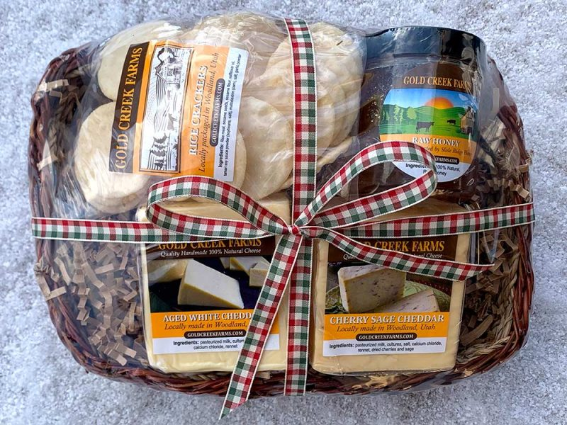 Classic Cheese Basket holiday ribbon